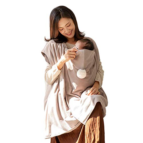 Konny Baby Carrier Winter Cover | Compatible with Any Baby Carriers and Strollers | Protect Baby from Cold Weather | Polar Fleece | Newborns, Infants to Toddlers(Beige, Free)