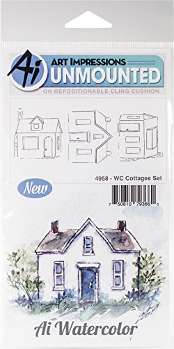Art Impressions Watercolor Cling Rubber Stamps, Cottages