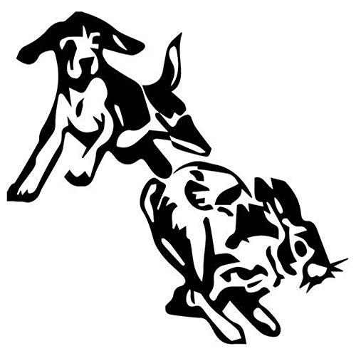Dog Rabbit Hunting - Vinyl Decal Sticker Car Decal Bumper Sticker for Use on Laptops Windowson Water Bottles Laptops Windows Scrapbook Luggage Lockers Cars Trucks