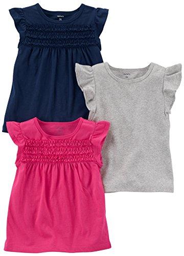 Carter's Baby Girls' 3-Pack Flutter Sleeve Tee, Navy/Grey/Pink, 12 Months