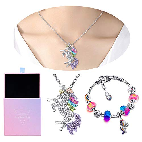 RSVOM Unicorn Gifts Set, Bracelet and Necklace Set Birthday for Girls Women, Personalised Kids Jewellery Sets includes Rainbow Charm Beads Unicorn Pendant for Kids Friendship Age 8-12