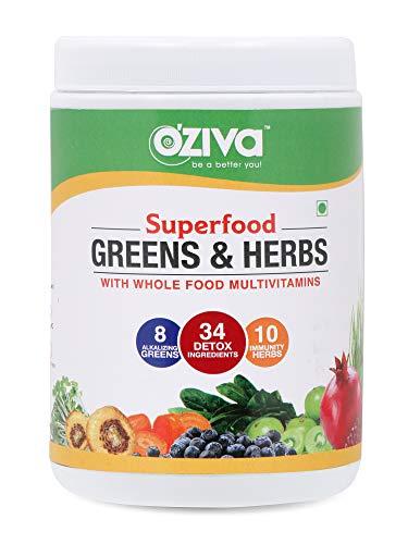 OZiva Superfood Greens & Herbs (Supergreens powder with Chlorella, Spirulina & 34 Detox Ingredients) 250g