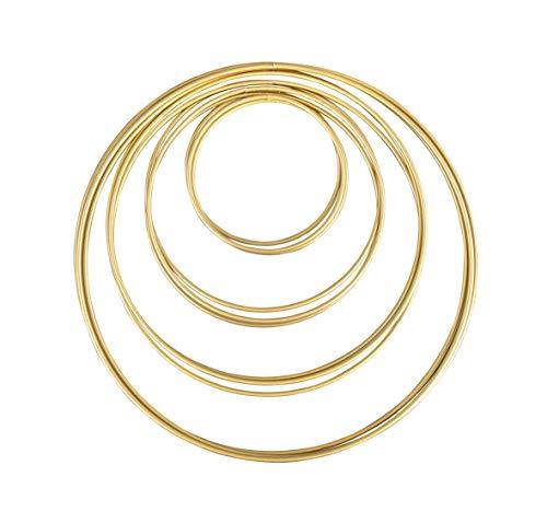 Rayher 25211616 Metallringe, 12 Stück, 4 Größen sortiert, gold beschichtet, Stärke ca. 3 mm, Drahtringe zum Basteln, für Wickeltechnik, Traumfänger, Floristik, Hochzeitskranz, Hoops