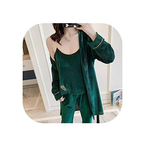 Herfst Winter Warm 3 Stuks Pyjama Set Vrouwen Slaapmode Mouwloos Nachtkleding Lange Broek Robe