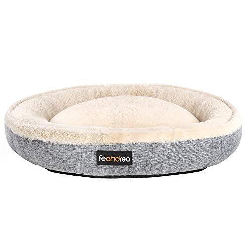 FEANDREA Hundebett, Hundekorb, Katzenbett, Donut, Ø 75 cm, grau PGW075G02