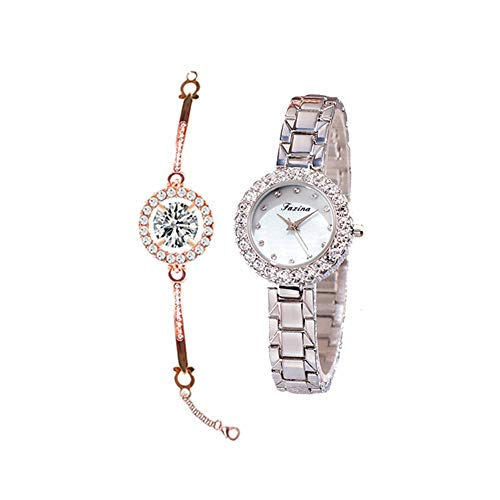 YIBOKANG 2 Piezas De Mujeres De Moda Creativa Impermeable Reloj De Reloj De Lujo Pulsera De Agua De Lujo Pequeño Cuadro De La Pulsera De La Moda De Cuarzo (Color : Plata)