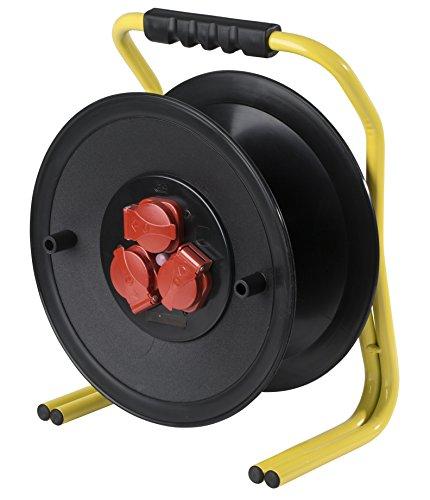 as - Schwabe Profi Leer-Kabeltrommel ohne Leitung – Leertrommel für ca. 40 m Stromkabel – Trommel mit 3 Schutzkontakt-Steckdosen – IP44 – Made in Germany – Schwarz I 10620
