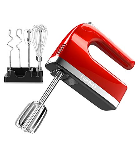 DmofwHi 9-Speed Electric Hand Mixer with Digital Screen and Timer, Kitchen Handheld Mixer with 6 Stainless Steel Attachments and Storage Case - Empire Red.