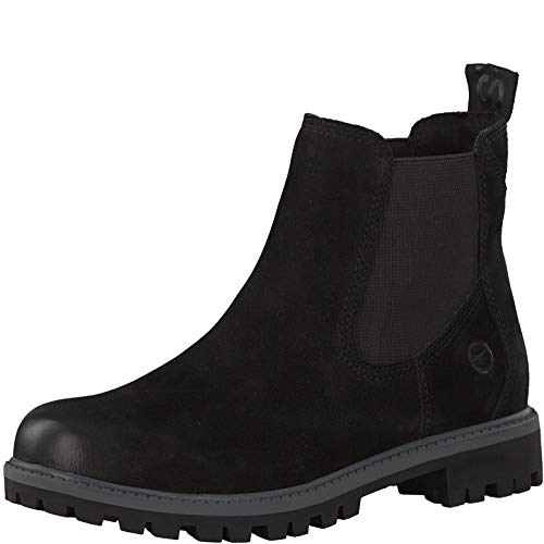 Tamaris Damen Stiefeletten 25401-23, Frauen Chelsea Boots, Freizeit leger Stiefel halbstiefel Stiefelette Bootie flach Damen,Black Uni,38 EU / 5 UK