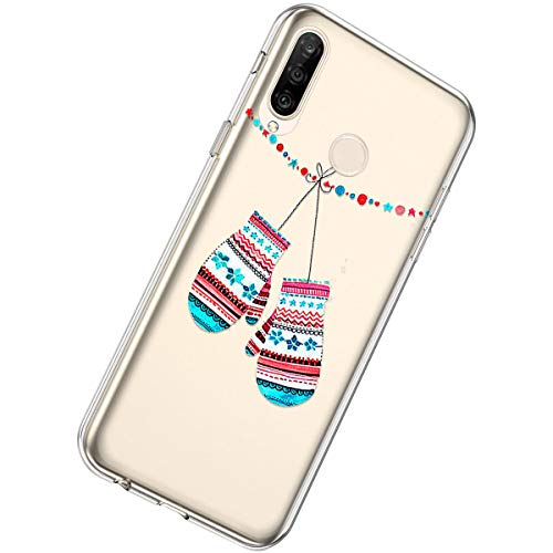 New Herbests Compatible with Huawei P30 Lite Case Clear Floral Case Christmas Design Pattern Girls Women Girly Cute Soft TPU Silicone Back Cover Crystal Slim Protective Cover,Xmas Gloves