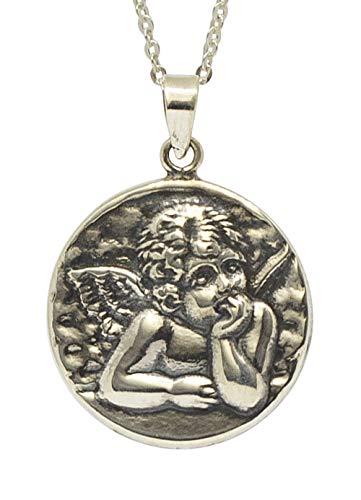 SiHerzmedaille Anhänger Schutzengel Querubin für Damen Herren - 925 Sterling Silber inkl. Kette 45 cm und Geschenkbox