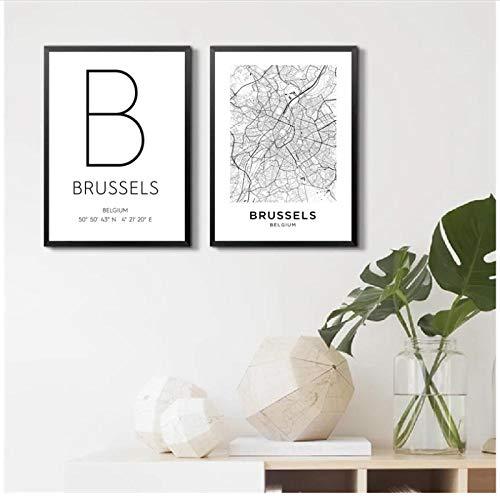 Muzimuzili Negro Blanco Bruselas Bélgica Mapa de la Ciudad Lienzo Pintura Carteles e Impresiones Arte de Pared Imagen nórdica decoración de habitación moderna-42x60cmx2 sin Marco