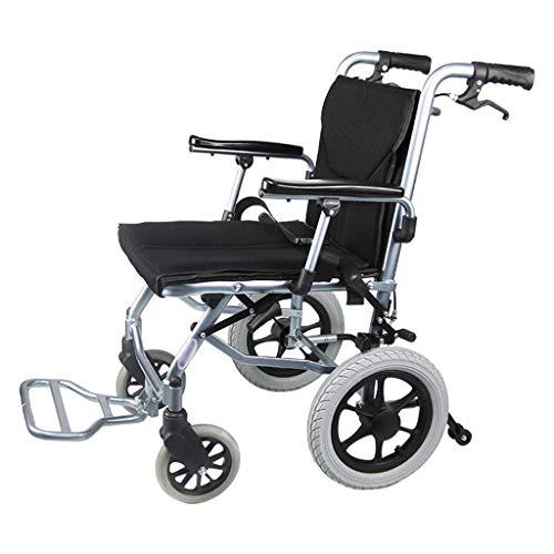 HFJKD Rollstühle Manueller Rollstuhl aus Aluminiumlegierung, Leichter, zusammenklappbarer, tragbarer Rollstuhl, Leichter Transportstuhl, für ältere Menschen geeignet,