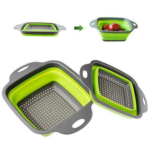 Kitchen Collapsible Silicone Drain Basket, Collapsible Colander Set, 2 PCS Square Silicone Strainer, for Pasta Draining, Kitchen Fruit and Vegetable Cleaning, Kitchen Filter Tool