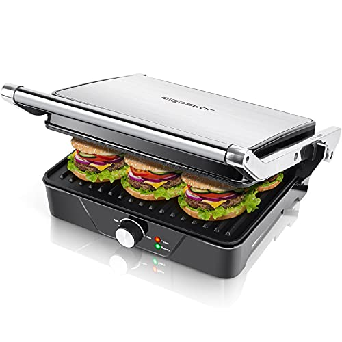 Aigostar Sandwich Toaster   Toastie Maker, 2000W Large 4-Slice Panini Press, Electric Grill with Deep Fill Non-Stick Plates, 180° Flat Open, Stainless Steel - Samson