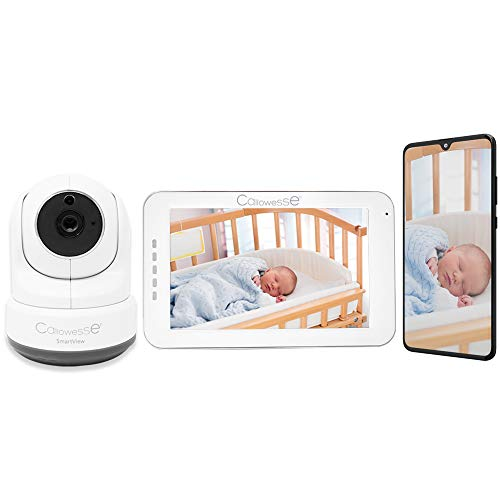 "Callowesse © SmartView 5 ""video Baby Monitor e Smartphone Connect. Ricarica wireless Unità genitore touch screen, Pan-Tilt-Zoom. Smart App. Visione notturna, temperatura ambiente, opzione 4 telecamere"