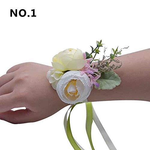 ADSIKOOJF 1 st Hand Pols Corsage Armband Kunstzijde Rose Bloemen Voor Bruiloft Handgemaakte Bloem Boeket Voor Bruid Evenement benodigdheden