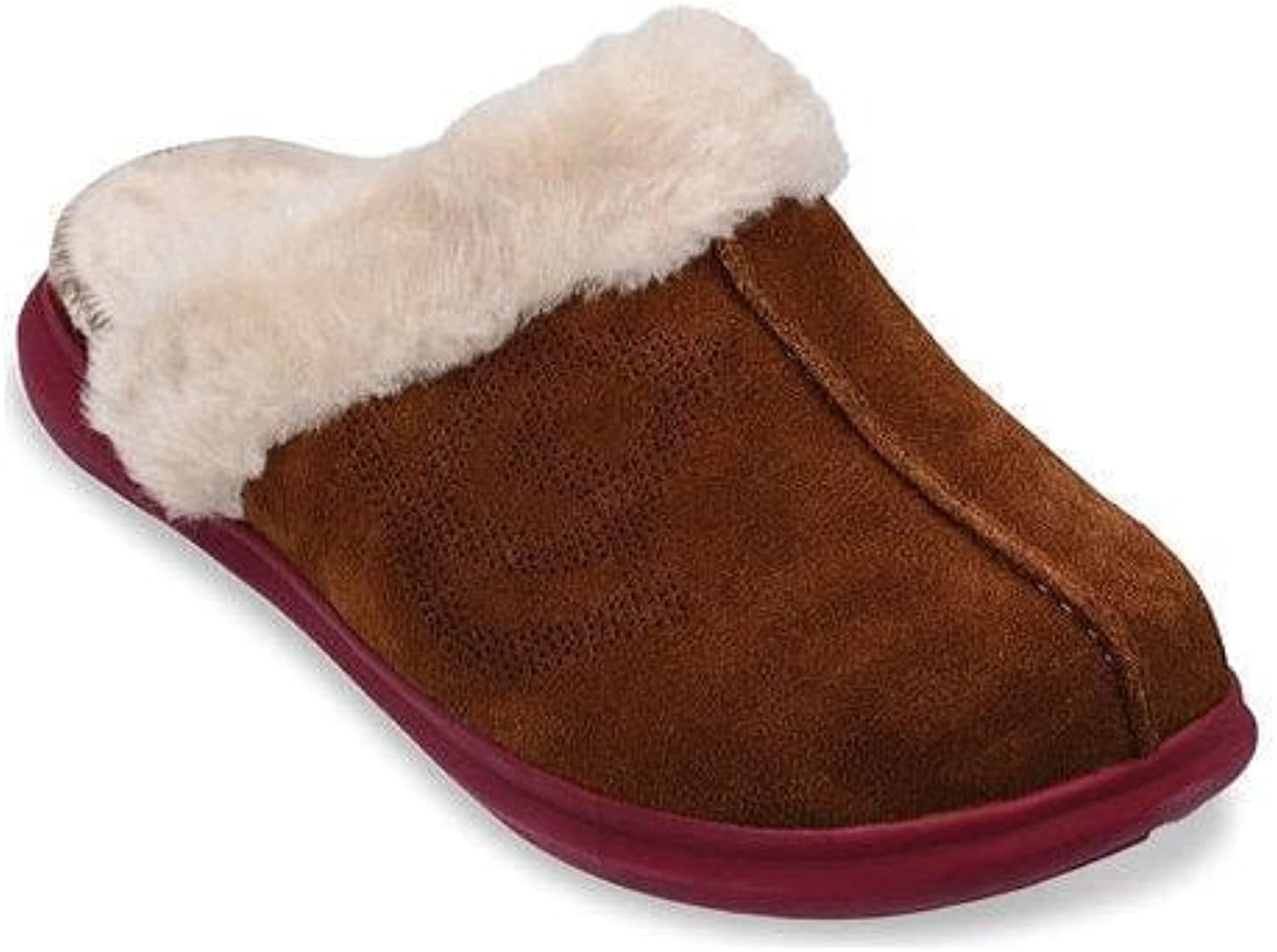 Fourfoot Women's Supreme Slide Suede Slippers   color Bison   Women's Casual Slip-On Style and A Premium Suede