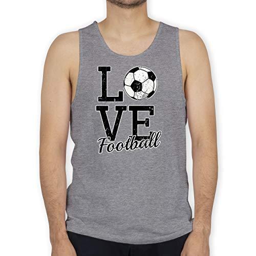 Shirtracer Fußball - Love Football - L - Grau meliert - Geschenk - BCTM072 - Tanktop Herren und Tank-Top Männer