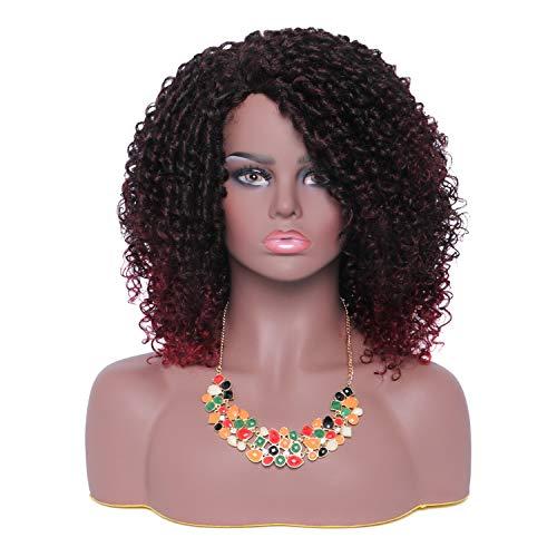 HIAYSAN 16 pulgadas Peluca rizada corta rizada Ombre Vino de Borgoña Peluca roja y negra Moda sintética natural Pelucas de cabello afro para mujeres negras