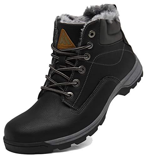 Botas de Nieve Mujer Antideslizante Fur Forro Aire Libre Senderismo Escalada Trekking Zapatos Invierno Hombre Botines Negro 36