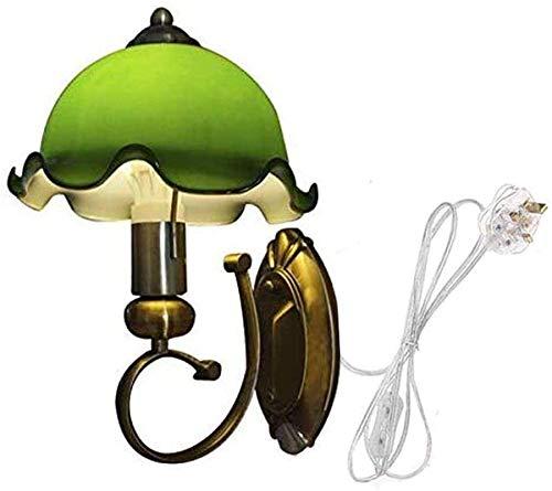Luces de pared industriales, Wall Sconte con decoración antigua Lámpara de cristal verde Plátula de la lámpara montada en la pared del cordón clásico para la lámpara de la pared de la cabecera, (Bulbo