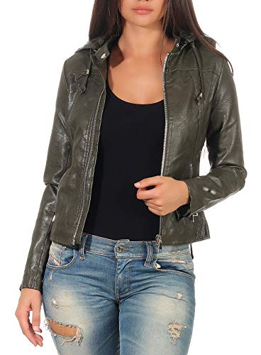 Malito Damen Jacke   Kunstleder Jacke   lässige Jacke mit Kapuze   Jacke mit Zipper - Faux Leather 5175 (Oliv, L)