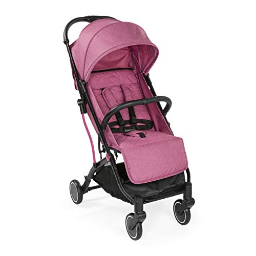 Chicco Trolley Me Lightweight Stroller Pushchair from Birth to 15 kg, Reclining and Folding Buggy with Trolley Function, Compact Closure, Rain Cover and Extendable Canopy - Pink