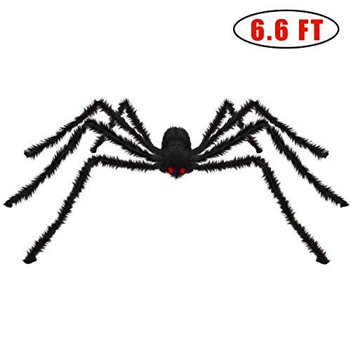 Kearui Spider Decorations, Halloween Spiders, Outdoor Halloween Spider, Hairy Poseable Spider, Scary Spider for Halloween Decorations, 6.6 ft / 200 cm