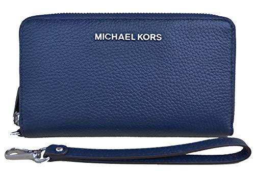 Michael Kors - Monedero de Piel con Cremallera para Viaje, Color Azul Marino