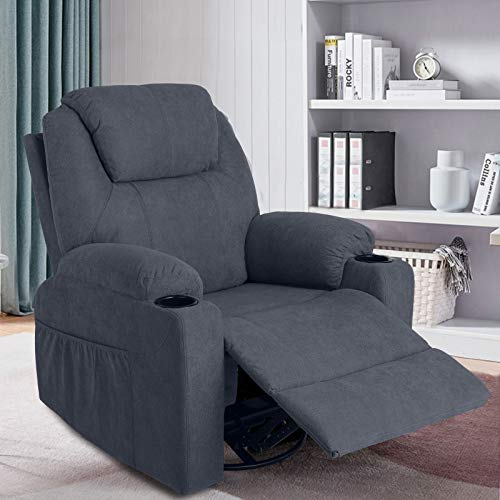 MAGIC UNION Fabric Massage Recliner Chair Rocking and 360°Swivel Heated Ergonomic Living Room Lounge Chair Single Sofa with 2 Cup Holders and Side Pockets Wireless Remote Control (Fabric+Blue)