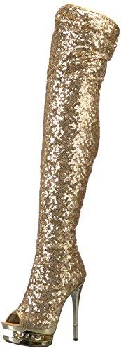 Pleaser BLONDIE-R-3011 Gold Sequins/Gold Chrome UK 8 (EU 41)