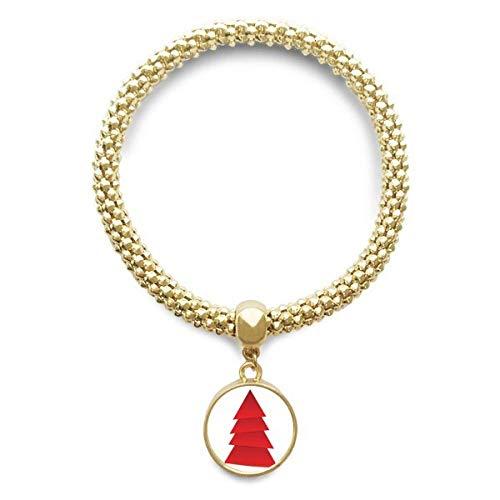 DIYthinker Damen Abstrakte Weihnachtsbaum-Origami-Muster Goldene Armband Laufende Anhänger Schmuck-Kette