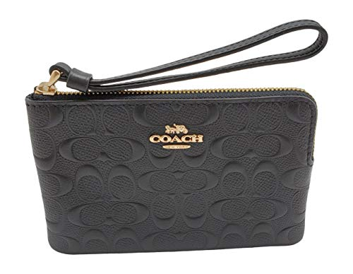 Coach F67555 Signature Leather Corner Zip Wristlet, Im Black, Small