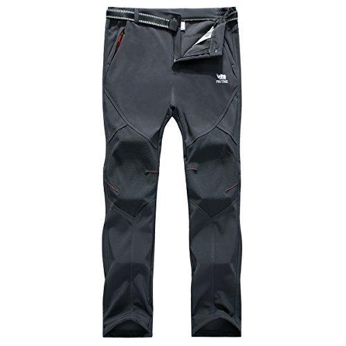 PECTNK Herren Softshell Ski Wandern Wasserdicht Fleece Hosen Grau Mittel