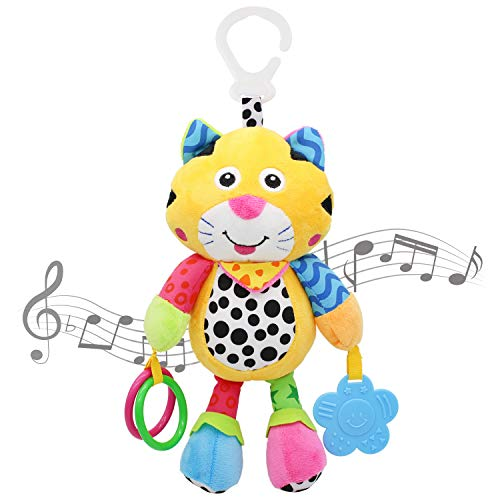 MARUMINE Baby Car Seat Toys with 24 Music and Teether, Infant Soft Plush Rattle, Early Development Hanging Stroller Toys for 0, 3, 6, 9, 12 Months Newborn Boys Girls Gifts (Tiger)