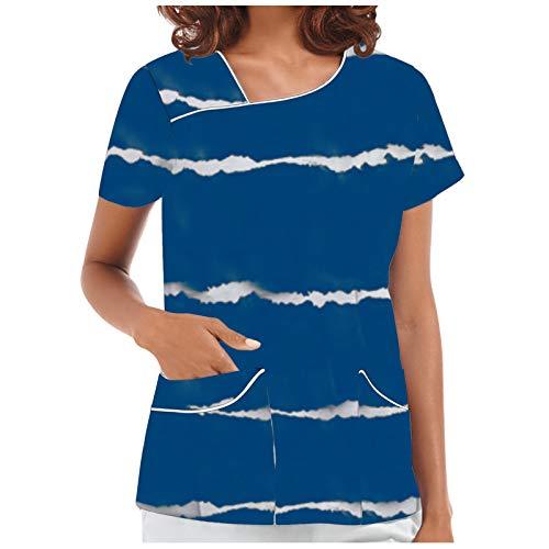YANFANG Bata De Trabajo para Mujer,Camisetas Uniforme Superior con Estampado Flores Cuello Manga Corta,T-Shirt Primavera Y Verano Blusa Moda Casual Camiseta Regalo Mujer,Rojo Azul,S M L XL 2XL 3XL