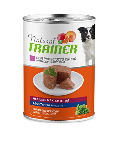Trainer Natural Cibo Umido Medium-Maxi Adulti per Cani con Prosciutto Crudo - Pack 12 x 400gr - 3,6kg