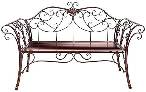 Banco al aire libre Banco de patio, muebles de porche delantero, banco de jardín de 52 pulgadas Banco de terraza de parque, silla de muebles de exterior de metal de doble asiento para patio, sill