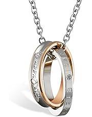 JewelryWe Collares de Parejas Enamorados His Queen Her King, Colgante de Anillos Plateados para Hombre Mujer Acero Inoxidable, Regalo de San Valentín/Navidad
