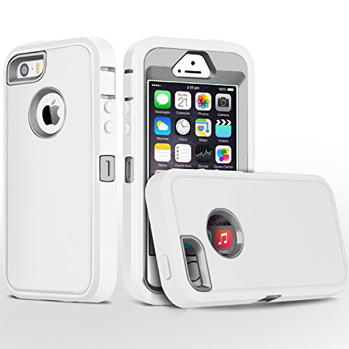 iPhone 5S Case,iPhone SE Case,Fogeek Heavy Duty PC and TPU Combo Protective Body Armor Case Compatible for iPhone 5S,iPhone SE and iPhone 5 with Fingerprint Function (White/Grey)