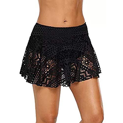 Lace Crochet Skirted Bikini Women Bottom Swimsuit Short Skort Swim Skirt Black