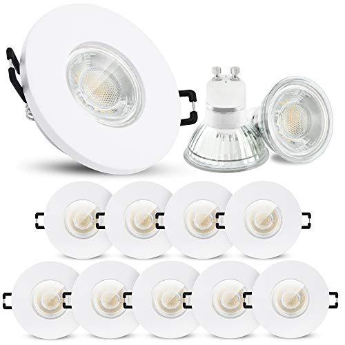 10 Stück linovum ISAWO LED Deckenstrahler Bad weiß rund IP65 - LED GU10 3W neutralweiß 230V Einbaustrahler für Dusche & Außen