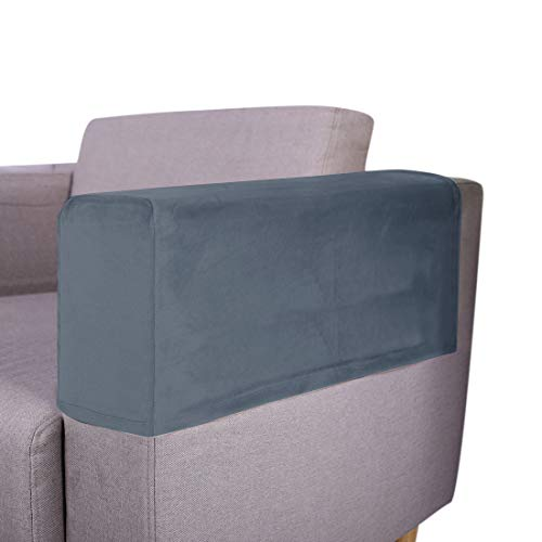 Oraunent Sofa Armrest Covers Pack of 2 Chair Arm Protectors Elastic Sofa Arm Slipcovers Removable Armrest Protectors for Fabric Chair Sofa Couch Grey