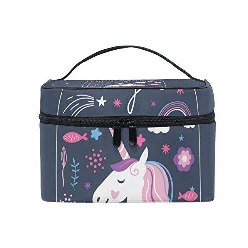 ISAOA Bolsa de Maquillaje con diseño de Unicornio en terrario Neceser de Viaje para cosméticos Bolsa de Almacenamiento Bolsa de Lavado Bolsa de Maquillaje portátil para Mujeres y niñas