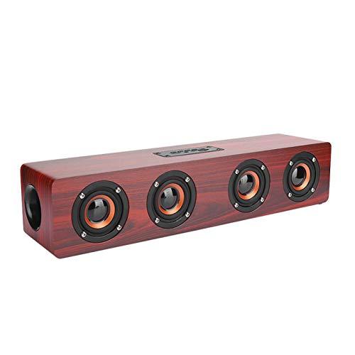 Altavoz Bluetooth retro, subwoofer inalámbrico de altavoz Bluetooth de grano de madera rojo, con sonido de alta fidelidad de 12 W, altavoces, recargable de 3000 mAh incorporado, para teléfonos, comput