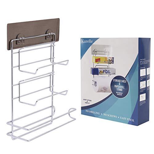 Portarrollos de Cocina - (32H x 7,8W x 23D cm) 3 en 1 Montura Pared Autoadhesivo Portarrollos de Cocina con Estante - Soporte Papel de Aluminio - Dispensador de papel