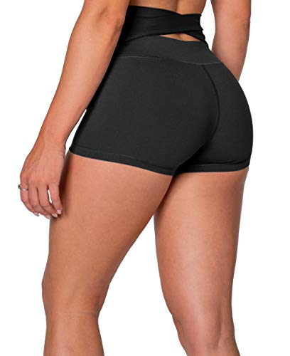 Kamo Fitness High Waist Athletic Yoga Shorts Tummy Control Workout Running (Black, M)