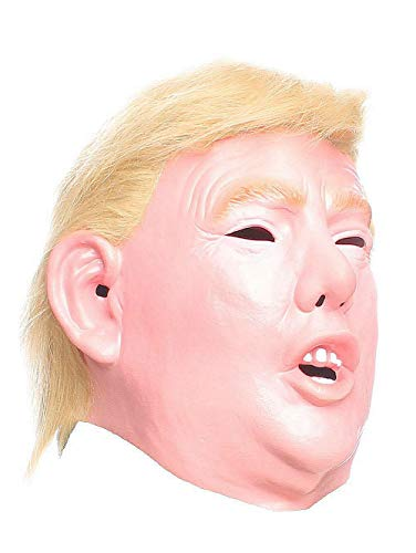 RAPGET Donald Trump Mask Republican Presidential Candidate Face Mask Halloween mask Trump Masks for Adults Realistic Latex Full Head-Hair Orange Adult Size