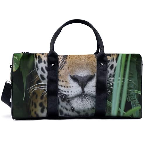Bolsa de viaje con estampado de leopardo animal, para viajes, yoga, camping, gimnasio, hombro, bolsa de lona ligera, para hombres y mujeres